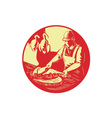 Chinese Cook Chop Meat Oval Circle Woodcut vector image