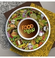 Cup of coffee and hand drawn fastfood doodles vector image