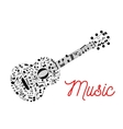 Guitar composed of musical notes icon vector image
