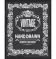Retro vintage chalkboard floral border vector image