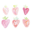 Set of strawberies - watercolor style vector image