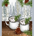 two cups with hot cocoa and marshmallows drink vector image