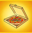 fresh pizza in box pop art vector image