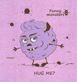 Hugging funny shaggy monster vector image