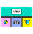 80s or 90s Stylish Icon Set with Retro Colours vector image