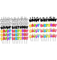 Colorful Happy Birthday Text Candles On Sticks Set vector image