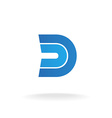 D letter logo template Blue flat style ribbons vector image