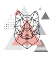 geometric head of a wolf on a scandinavian vector image
