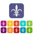 Lily heraldic emblem icons set vector image