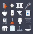 plumbing and heating set vector image