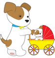 cute puppy baby carriage vector image vector image