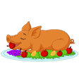 Cartoon drilled suckling pig on a plate vector image