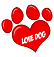 Love Paw Print With Text vector image vector image
