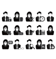 business people with office tools icon vector image