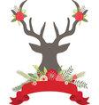 Christmas Deer Antlers with FlowersBanner set vector image