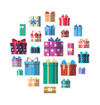 colorful gift box icon set in flat design vector image