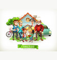 family father mother grandmother grandfather son vector image