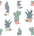 Hand drawn succulent ornament Ink vector image