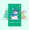 snowman line icon of vector image
