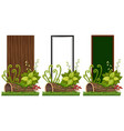 three banners design with wooden board vector image
