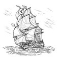 wind-driven ship on a white background vector image