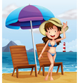 A woman wearing a stripe swimsuit at the beach vector image
