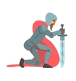 Knight With Red Cape And Sword Kneeling Fairy Tale vector image