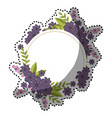 sticker circular frame with violet floral bouquet vector image