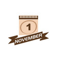 1 november calendar with ribbon vector image