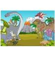Cartoon dinosaur character with volcano vector image