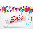 Sale banner celebration background with confetti vector image