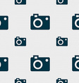 camera icon sign Seamless pattern with geometric vector image