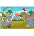 Cartoon dinosaur character with volcano vector image