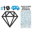 Diamond Icon with 1000 Medical Business Pictograms vector image
