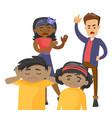 multiracial parents scolding their mulatto kids vector image