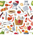 seamless pattern different foods for bbq party vector image