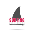surfing with shark icon in color vector image