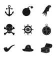 Pirates set icons in black style Big collection vector image