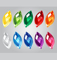 set of gem stones on gray background vector image