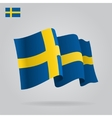 Flat and waving Swedish Flag vector image
