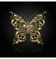 Gold abstract butterfly on black background vector image