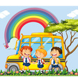 Students standing next to the school bus vector image vector image