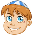 Jewish Boy Head With Blue And White Kippah vector image