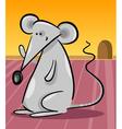 cute gray mouse cartoon vector image vector image
