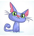 cartoon of a cute smiling blue cat vector image