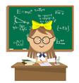 cute schoolgirl sitting at table over blackboard vector image