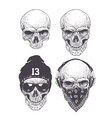 Dotwork Skulls Set vector image