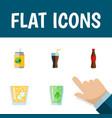 flat icon beverage set of lemonade cup fizzy vector image