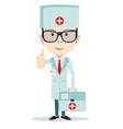 Friendly Doctor flat cartoon character vector image