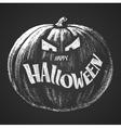 Happy Halloween chalk lettering with pumpkin vector image